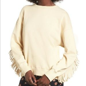 J.O.A. Fringed Crew Neck Sweatshirt